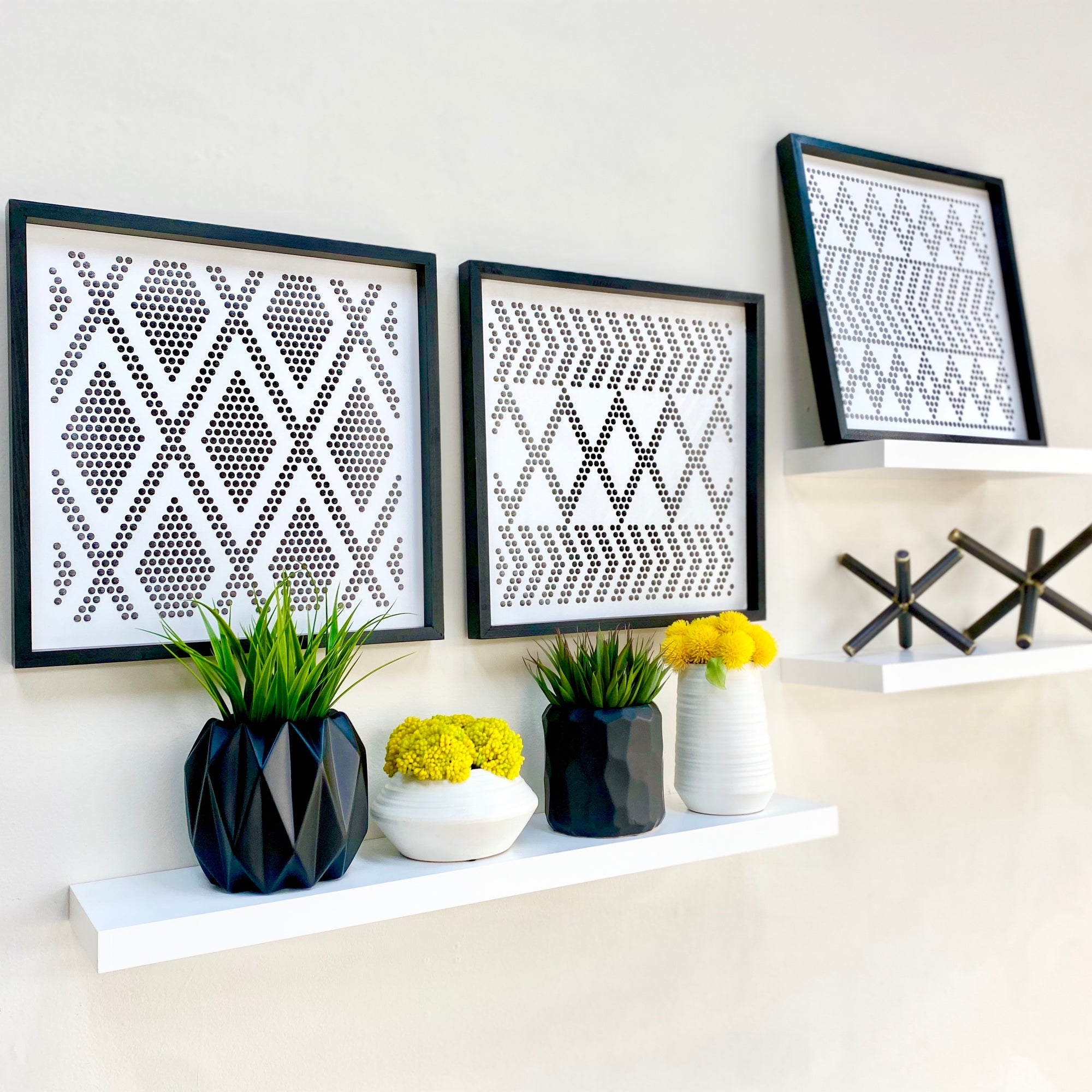 Perforated Diamond Metal Wall Art