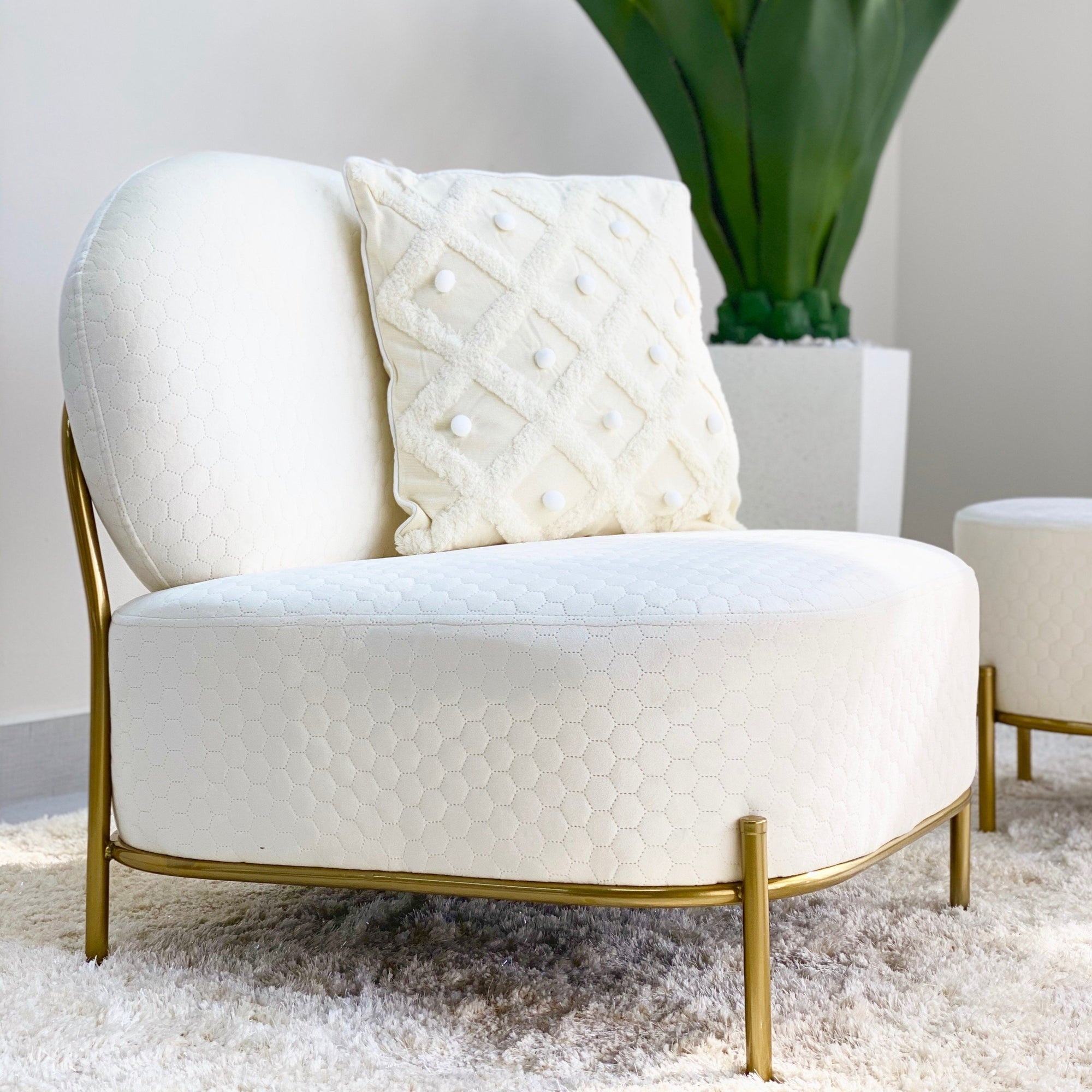 Hexagon Quilt Bone White Ottoman Chair