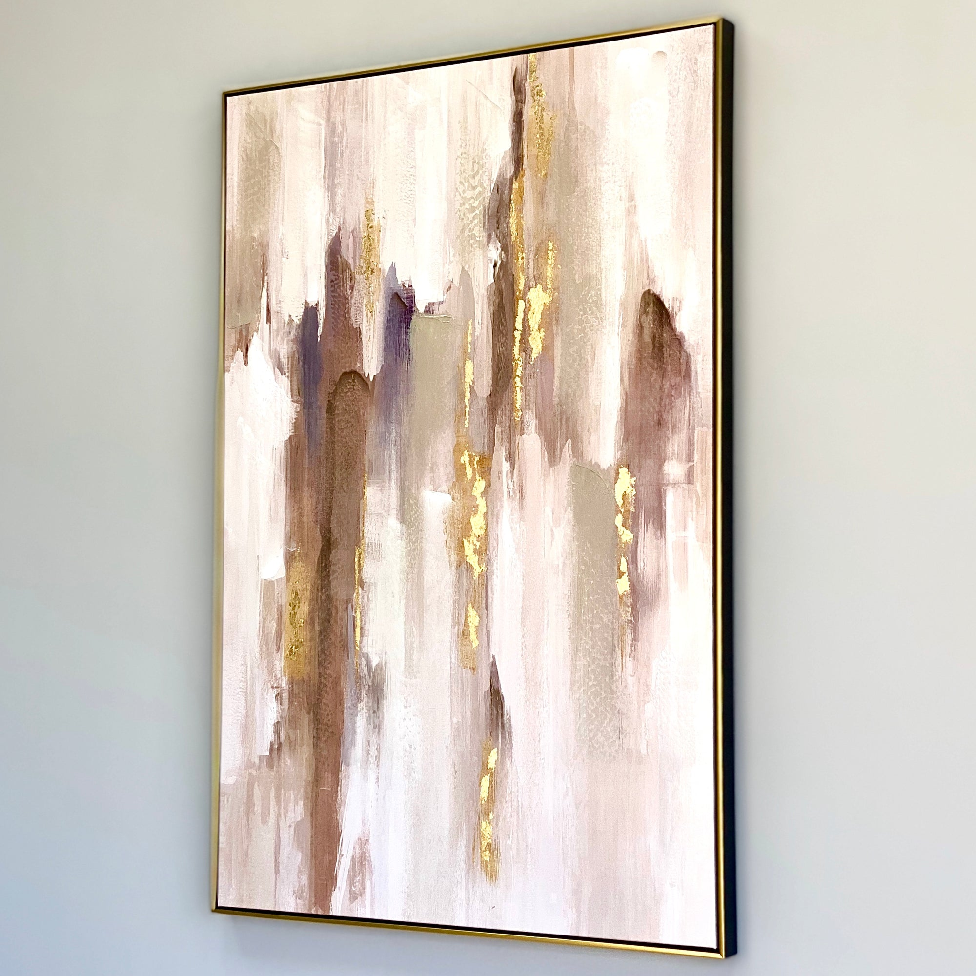 Abstract Neutral Gold Framed Hand Painted Wall Art