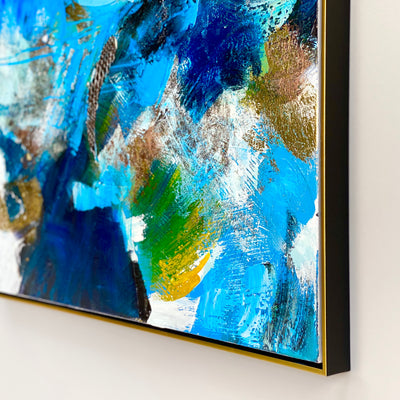 Abstract Blue Sea Framed Hand Painted Wall Art