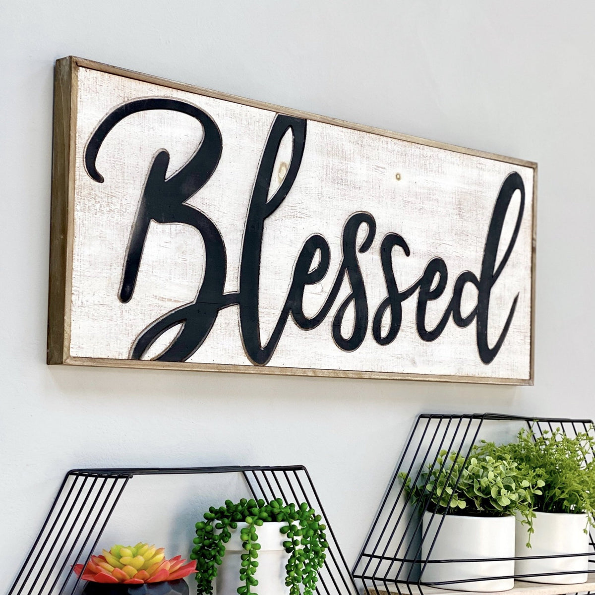 Blessed Carved Wood Wall Art