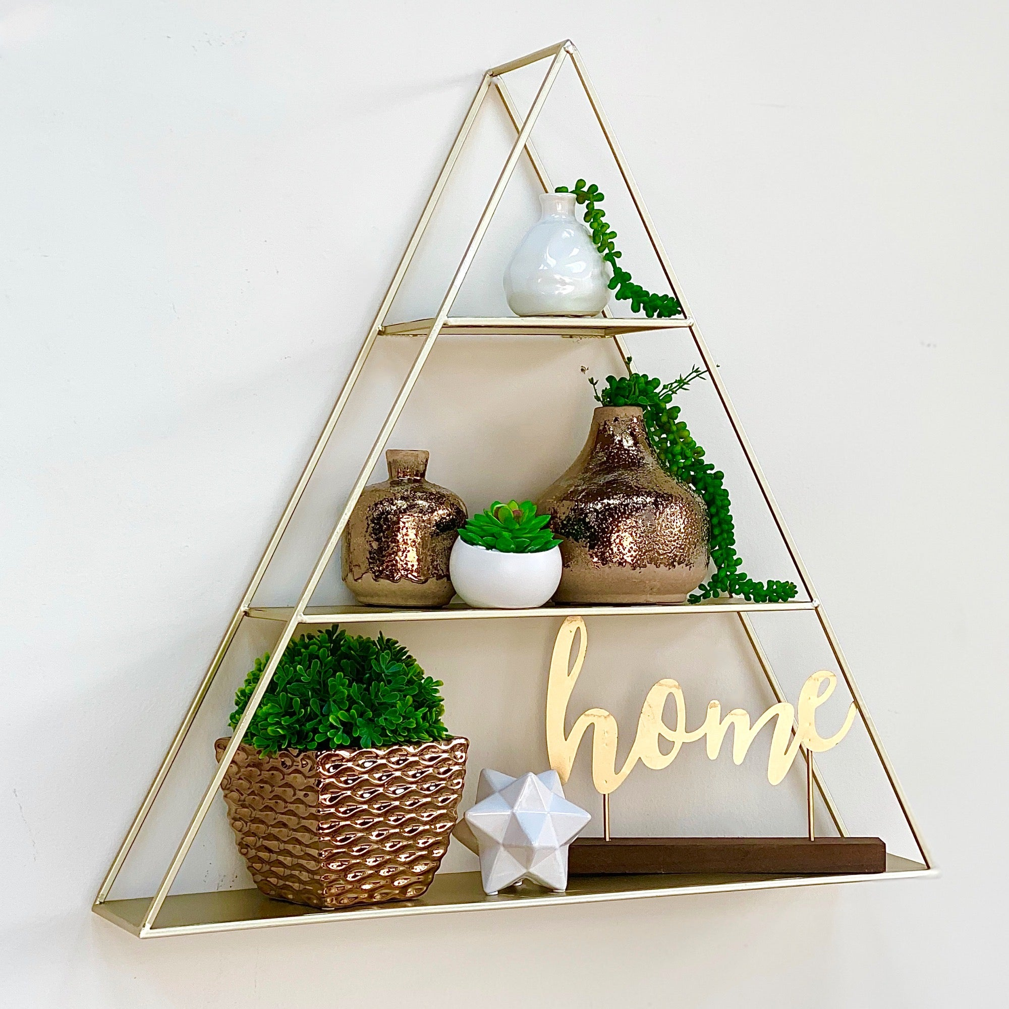 Triangular Wall Gold Shelf