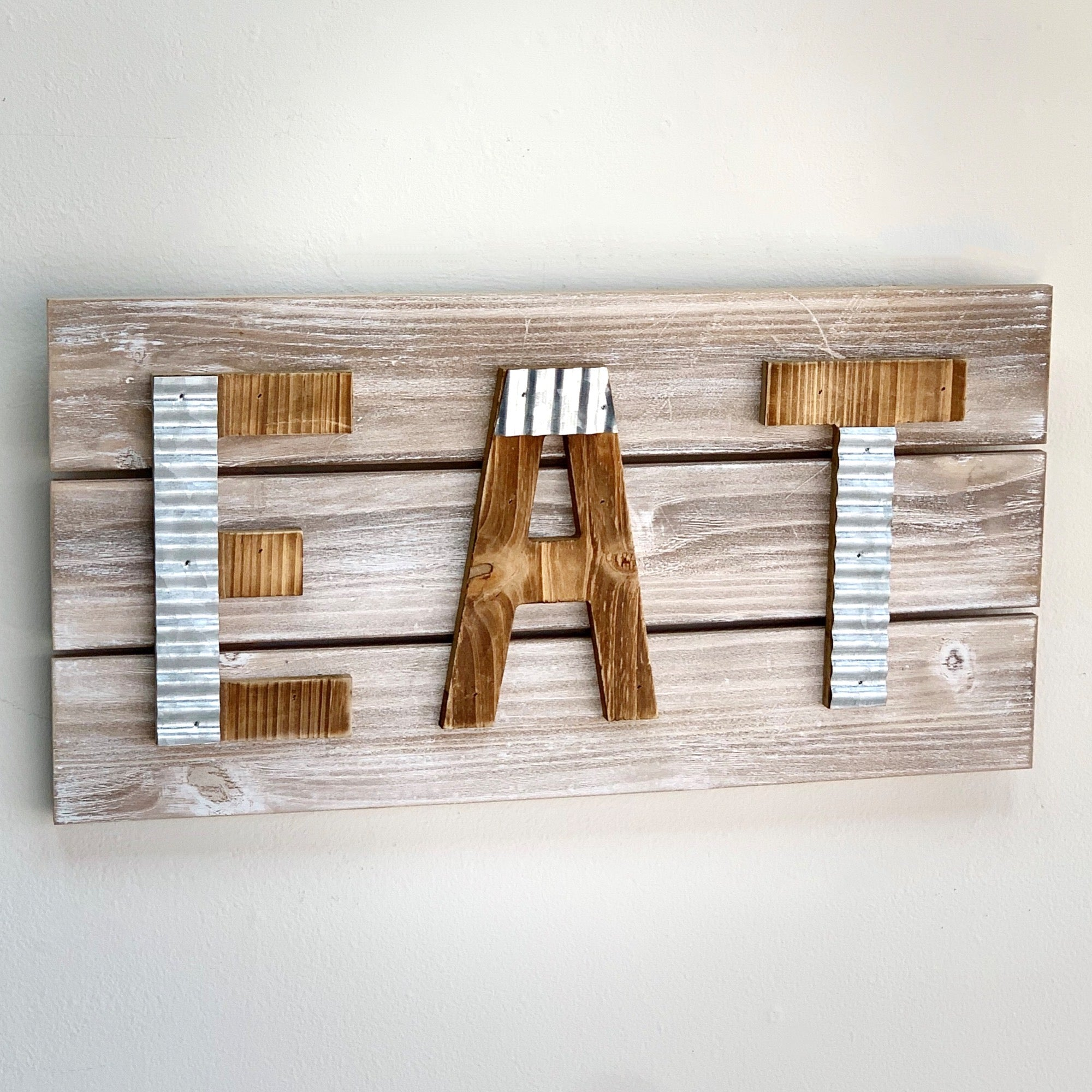 EAT Galvanized Wall Art