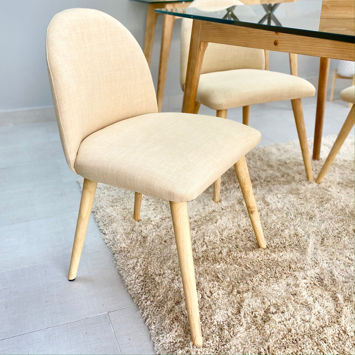 Paulette Ivory Wooden Legs Chair