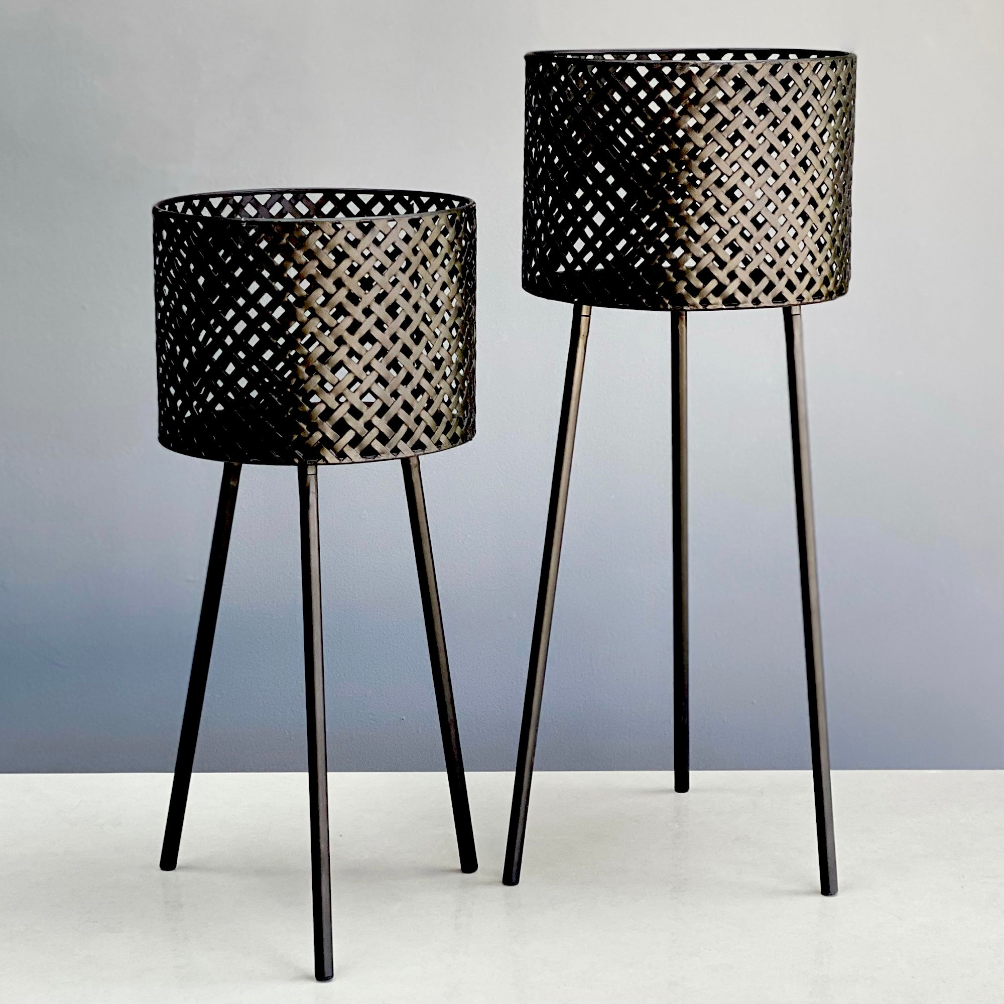 Black Perforated Metal Planter Set