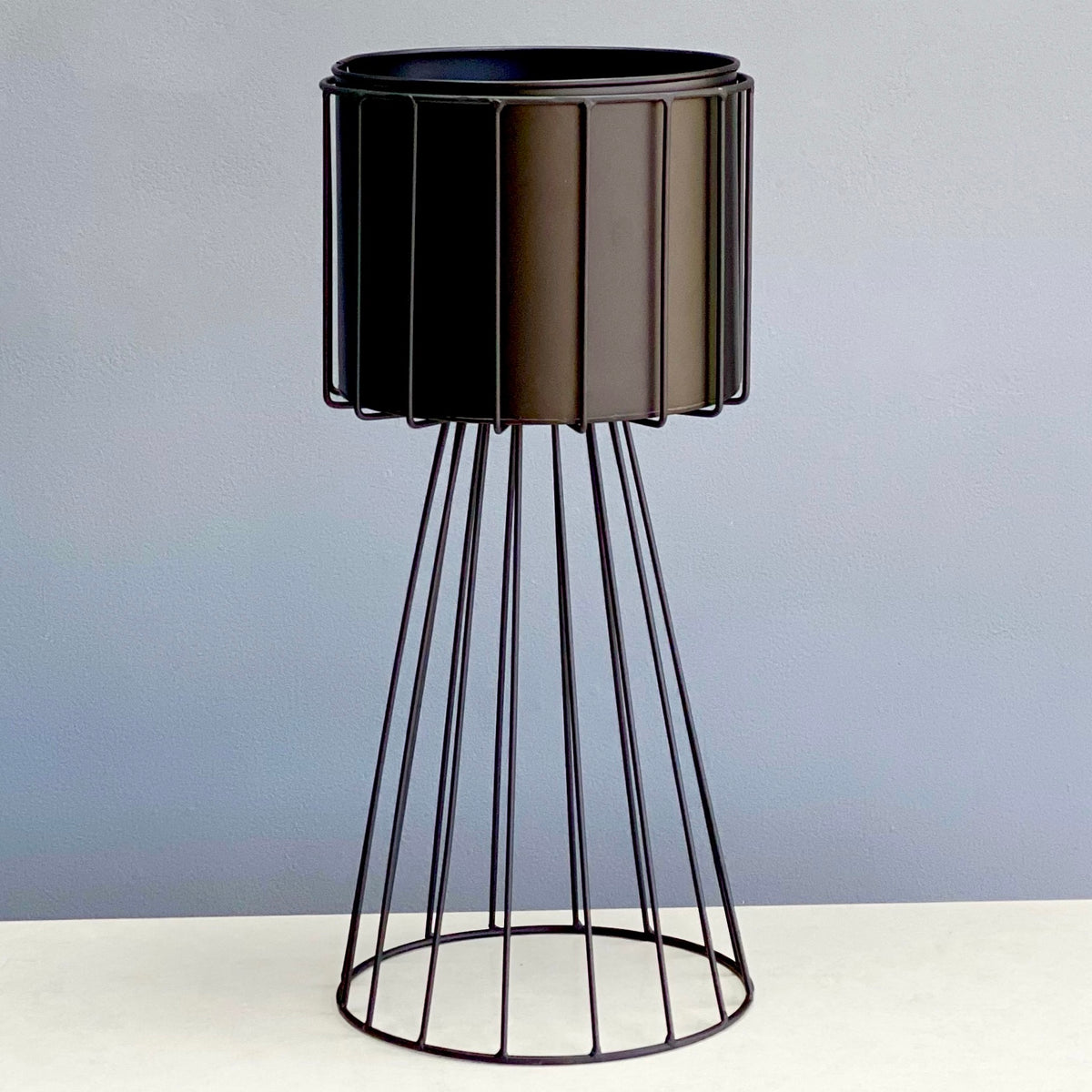 Metal Round Black Planter With Golden Stand