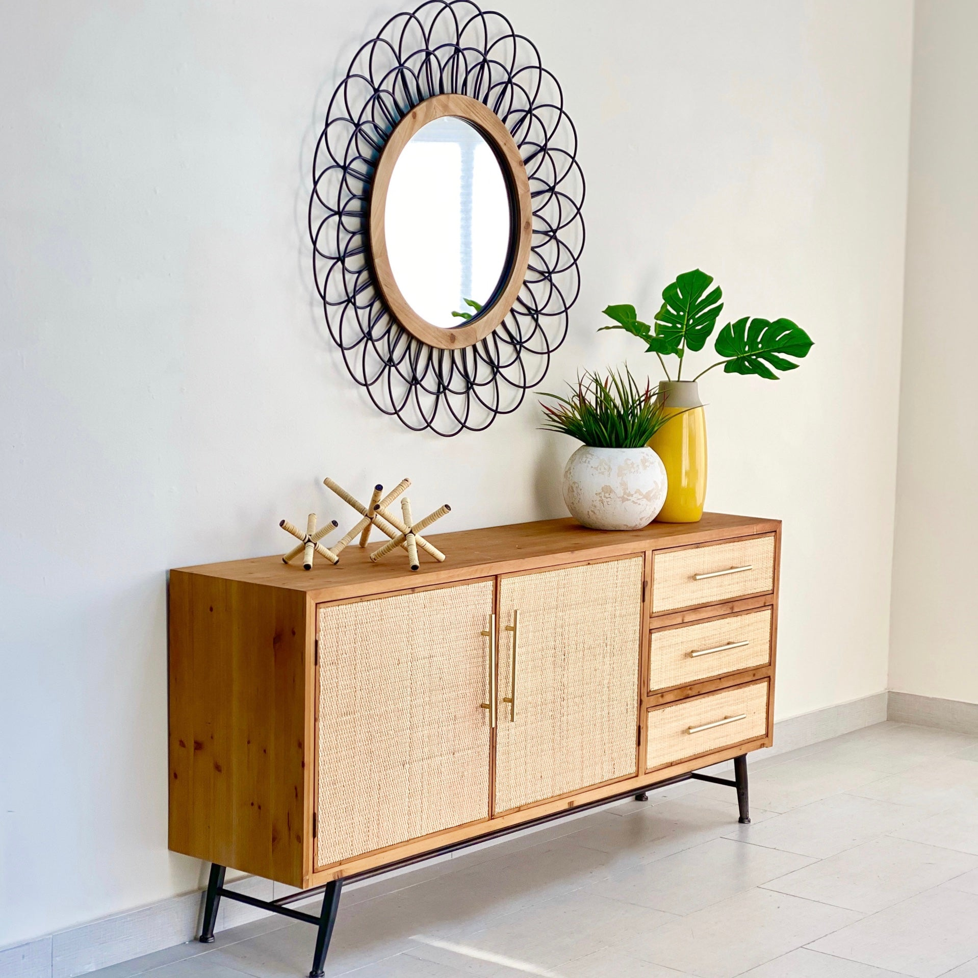 Rattan Peach Buffet Table
