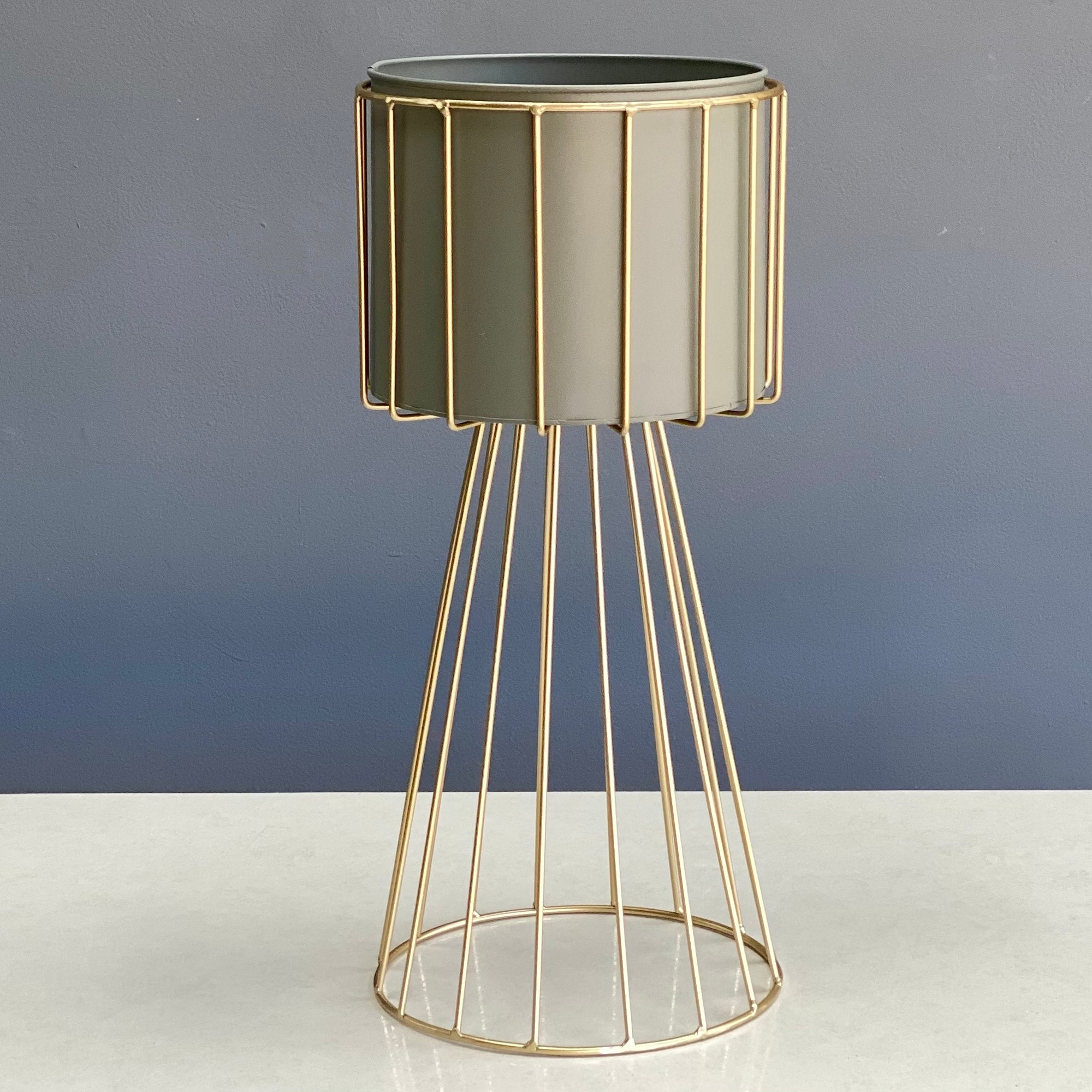 Metal Round Gray Planter With Golden Stand