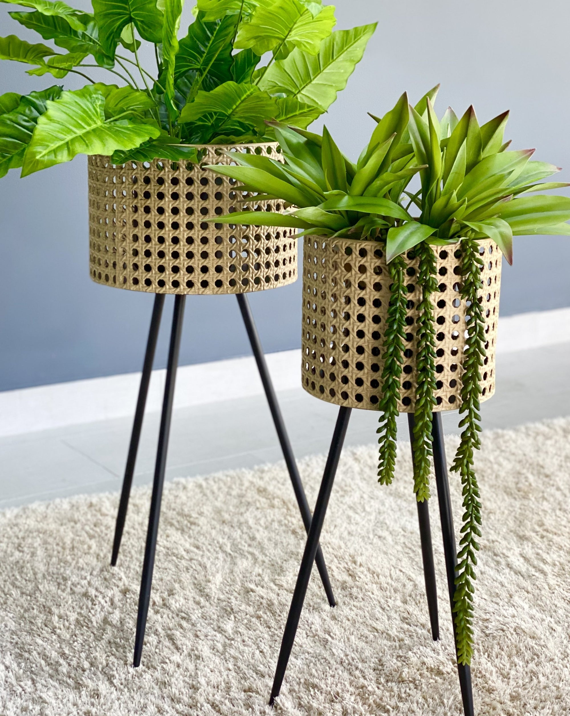 Rattan Look Metal Planter Set