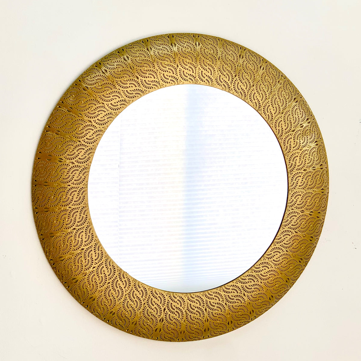 Embossed Gold Metal Round Mirror