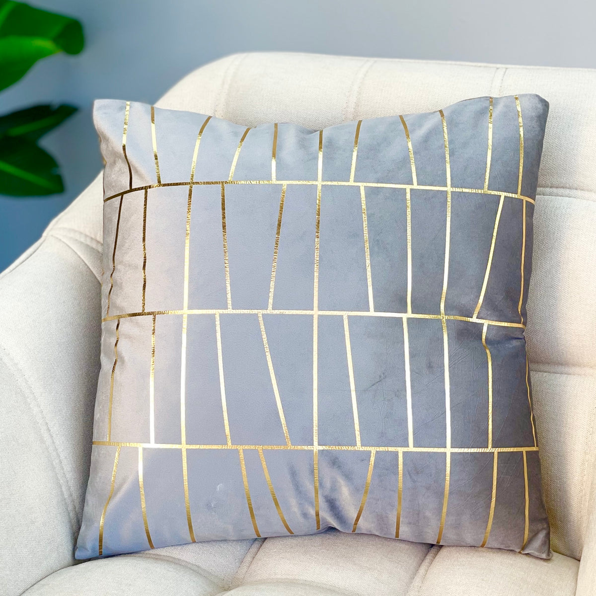 Golden Gray Foil Stripes Pillows
