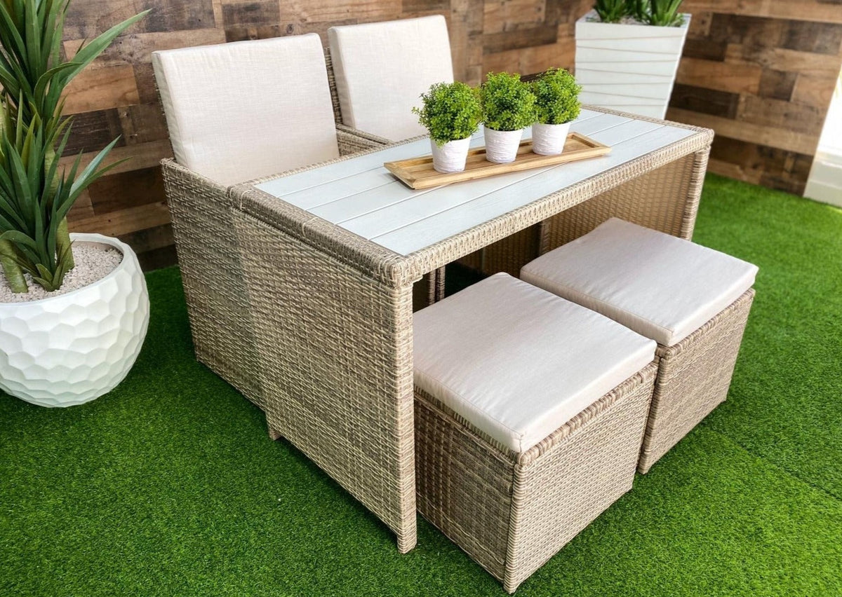 Outdoor Dining Table Set Natural Color