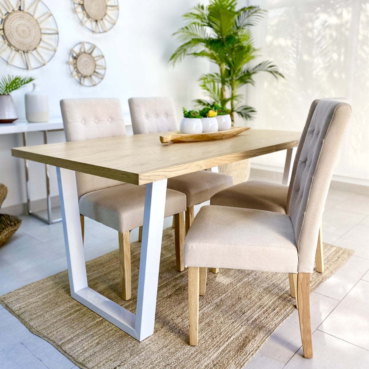 Clara Wood Top Dining Table Set