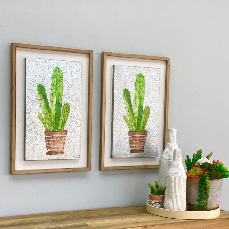 Green Cactus Aluminum Wall Art