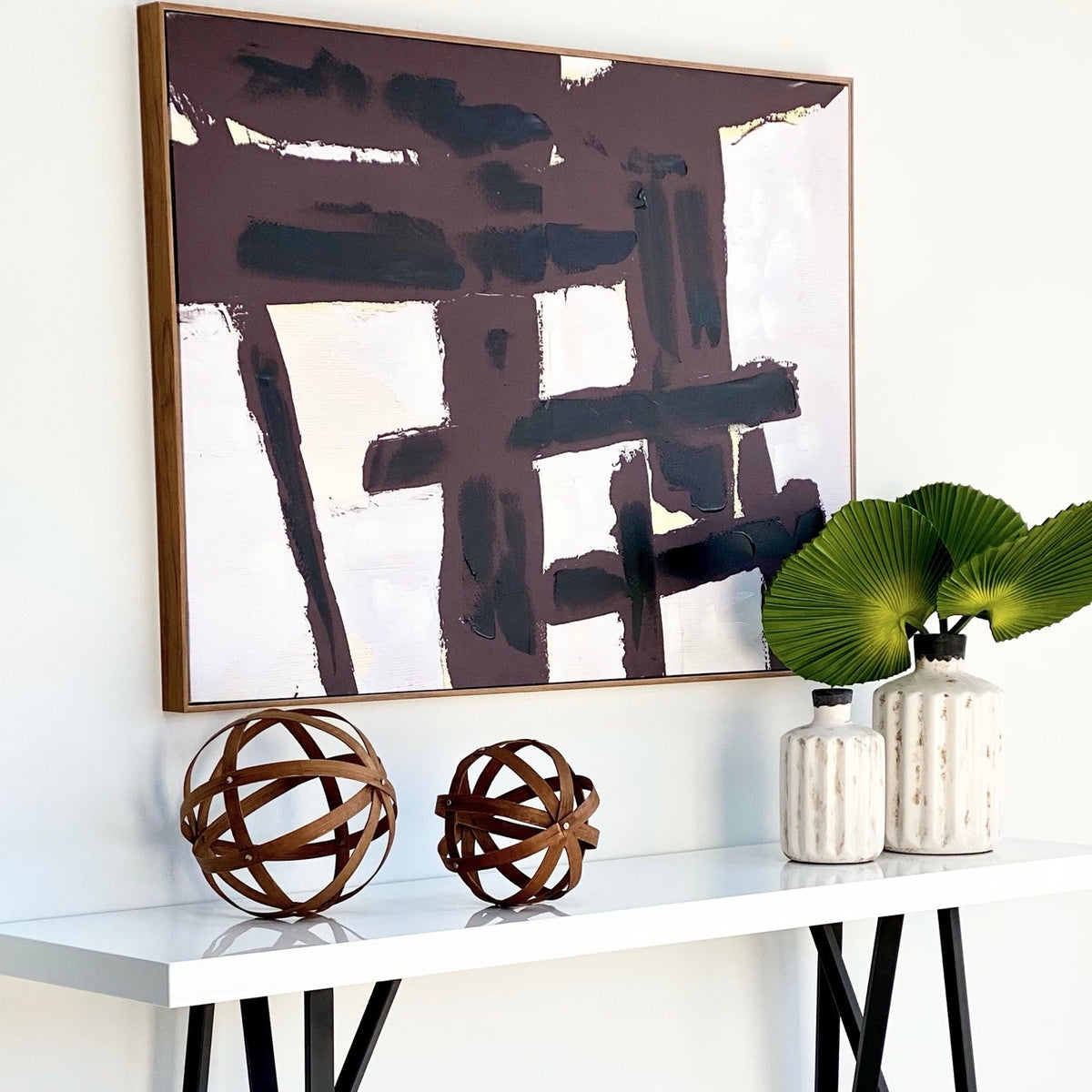 Minimalist Modern Black and White Abstract Wall Art