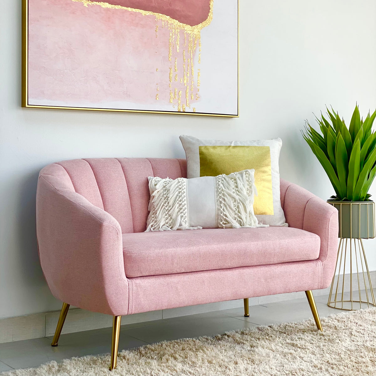 Ambar Pink Fabric LoveSeat