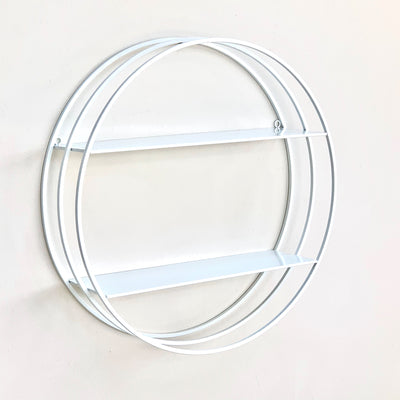 Metal Round White Shelf Double Tiers