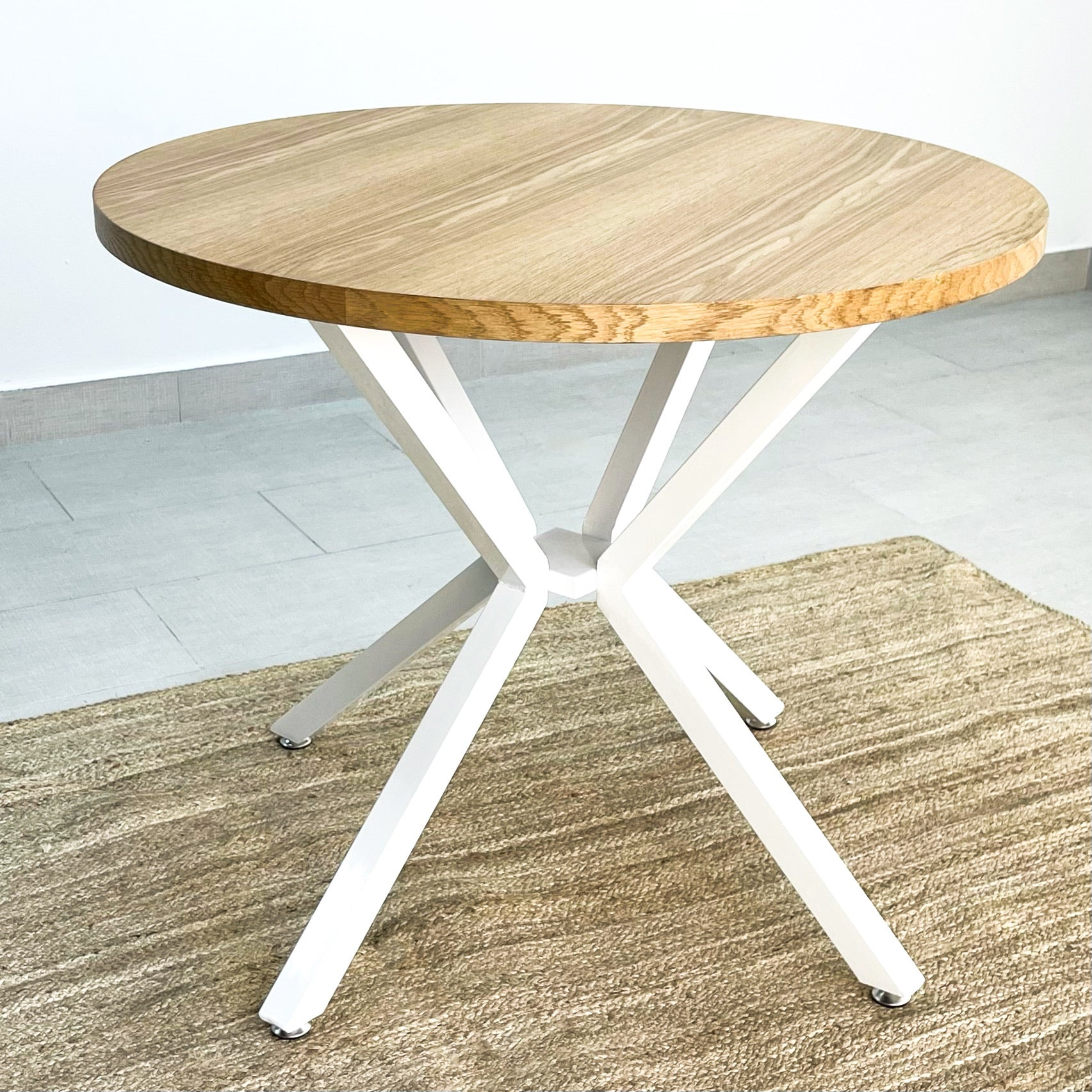 Pivot Round Wood Top Dining Table White Legs