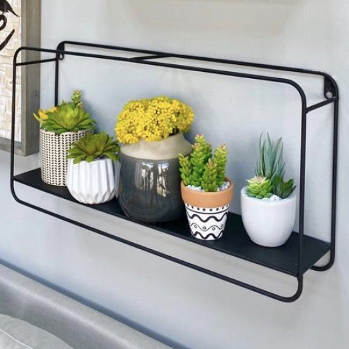 Large Black Metallic Rectangular Shelf