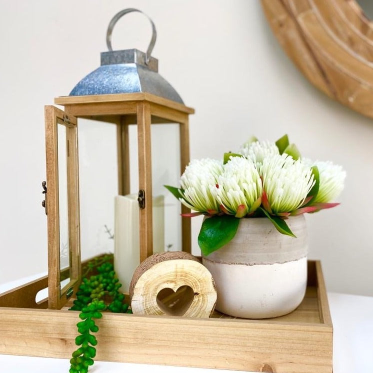 Small Ocre Wooden & Metallic Lantern