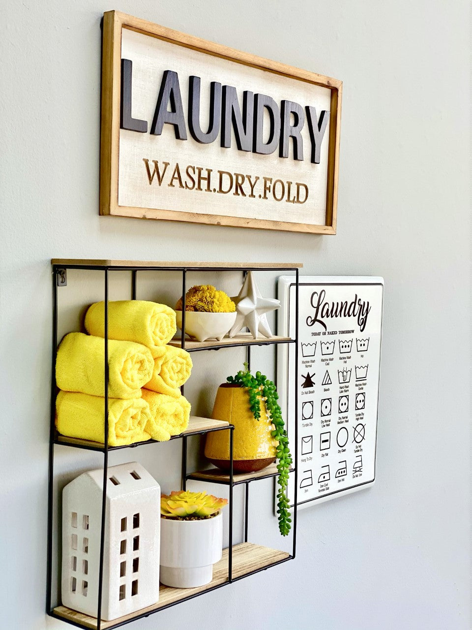 "Rectangle ""Laundry""Metal Wall Art"