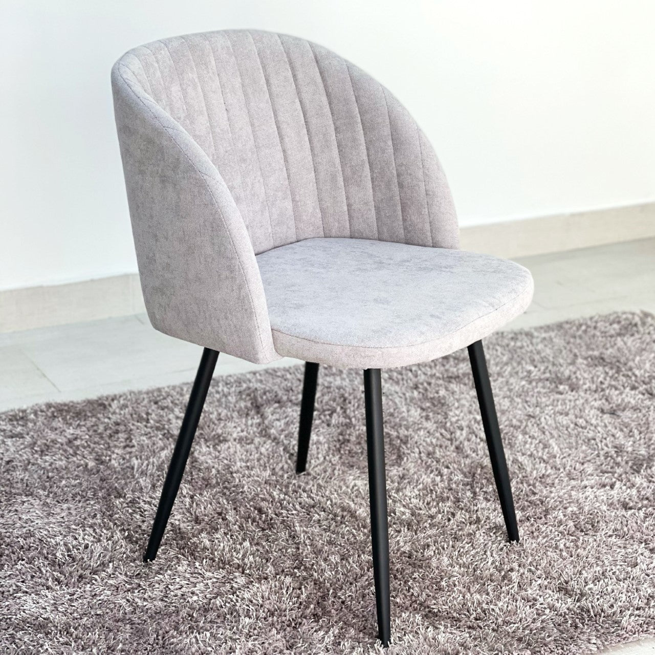 Curved Gray Fabric Dinning Chair
