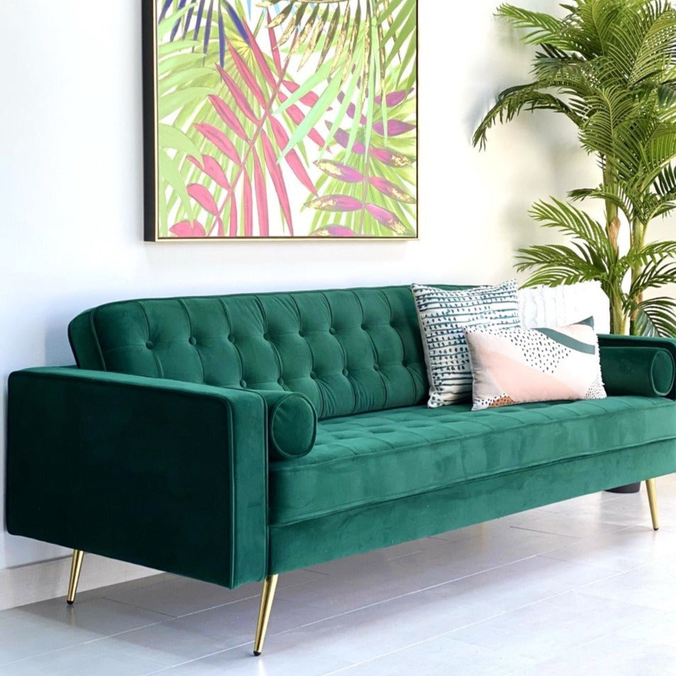 Mid Century Green Velvet Sofa With Gold Legs