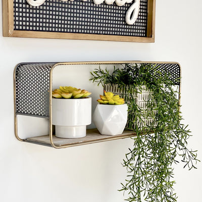 Perforated Rectangle Wall Shelf