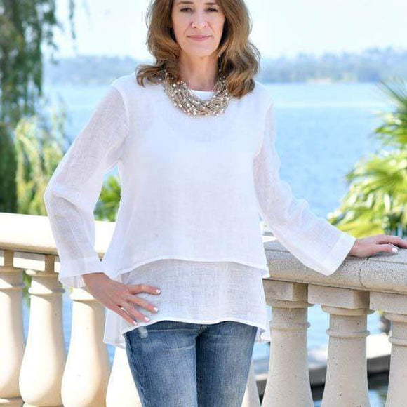 Audrey Double Layer linen top Available in 4 colors