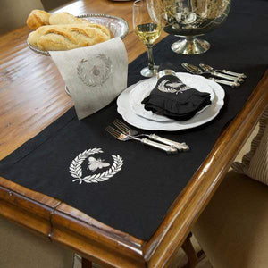 Crown Linen Designs Bumble Bee Table Runner available in 3 styles and 3 sizes