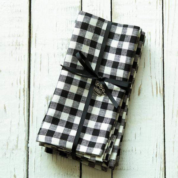Crown Linen Designs Checkered Lunch Napkin Set of 4