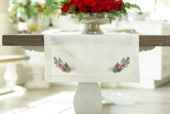 Crown Linen Designs Natale Sprig Table Runner available in 3 sizes