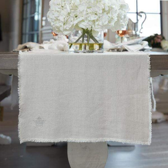 Crown Linen Designs Provence Linen Table Runner with Fringe 2 colors 3 sizes