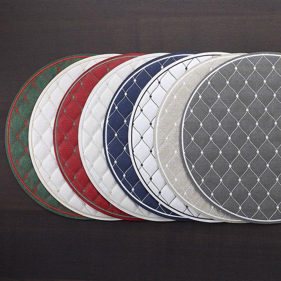 Bodrum Quilted Diamond Round Placemat set/4  available in 8 colors