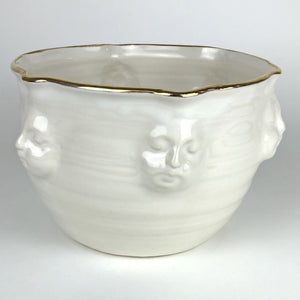 White with Gold Face Bowl