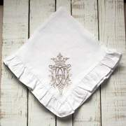 "Crown Linen Designs Royal Ruffle Napkin 19"" set/4 available in 3 colors"