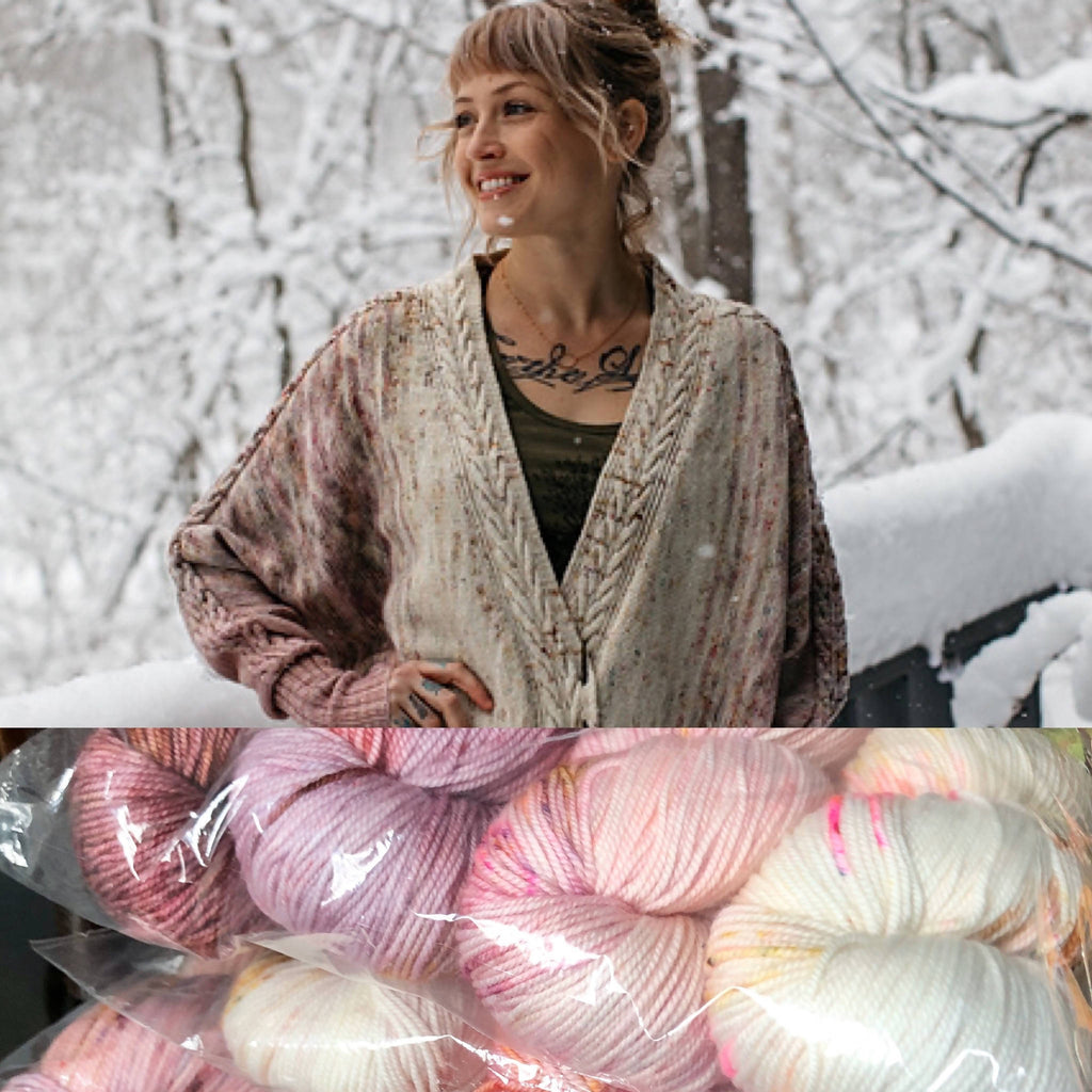 Goosey Fibers Rose Cardigan Knitting Kit - Princess Colorway Merino Sport Yarn - Shoptinkknit