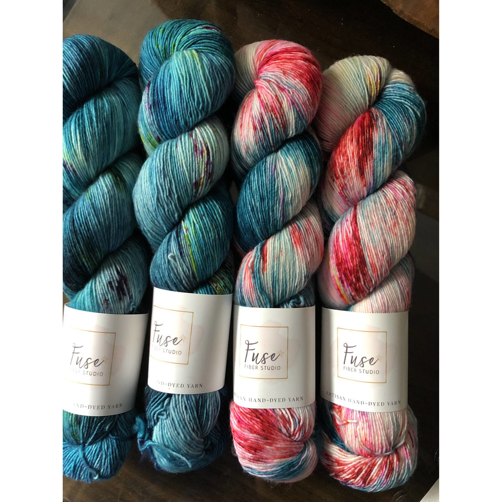 Four (4) Skeins of Fuse Fiber Studios in Merino Singles Yarn - Turquoise/Pinks - Shoptinkknit