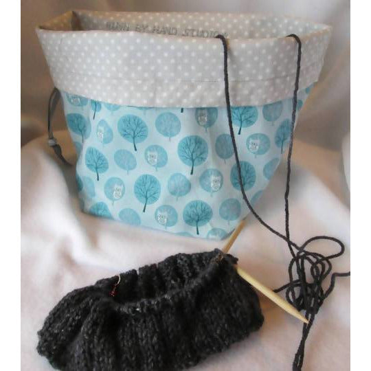 OWLS IN THE MOONLIGHT Drawstring 1-2 skein Handy project bag - Shoptinkknit