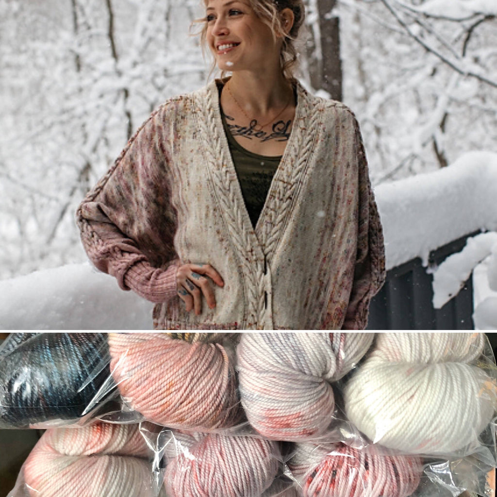 Goosey Fibers Rose Cardigan Knitting Kit - Criminal Colorway Merino Sport Yarn - Shoptinkknit