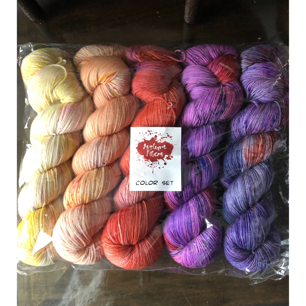 Asylum Fibers 5-Skein Color Set In Madhouse Fingering Yarn - Space Cadet OOAK