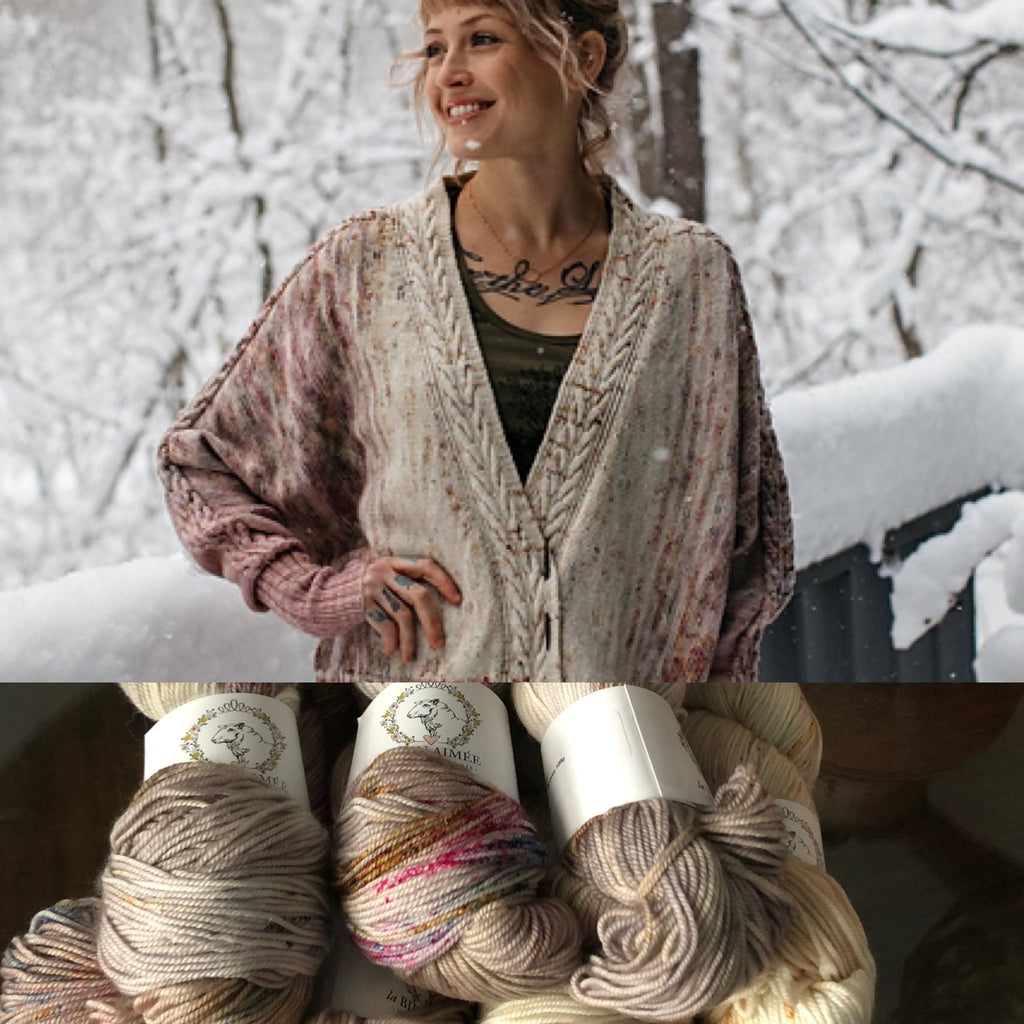 La Bien Aimee Rose Cardigan Knitting Kit - Original Damask Colorway in Merino Sport (7 skeins) - Shoptinkknit