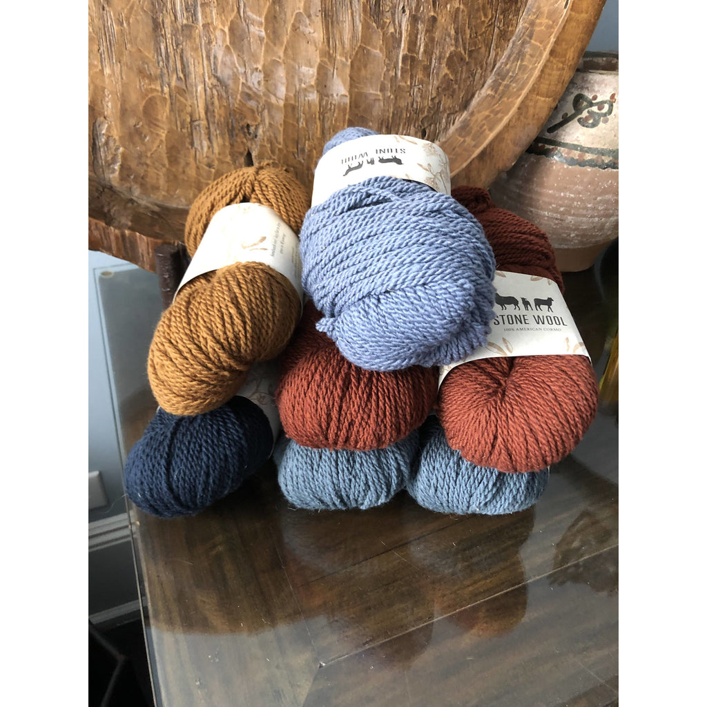 Seven (7) Skeins Stone Wool Cormo Worsted Weight Yarn - 7 Skeins in 5 Colors - Shoptinkknit