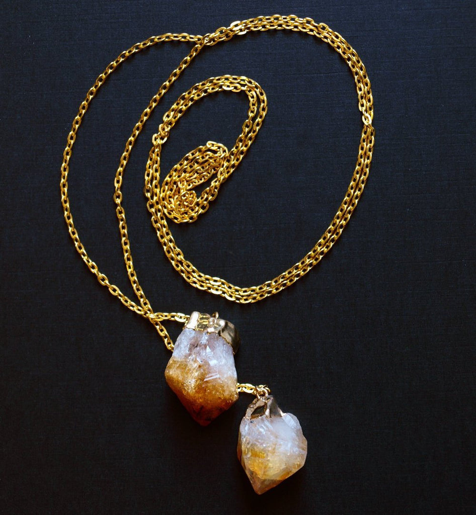 Citrine Wrap Necklace, Gold Citrine Lariat Necklace
