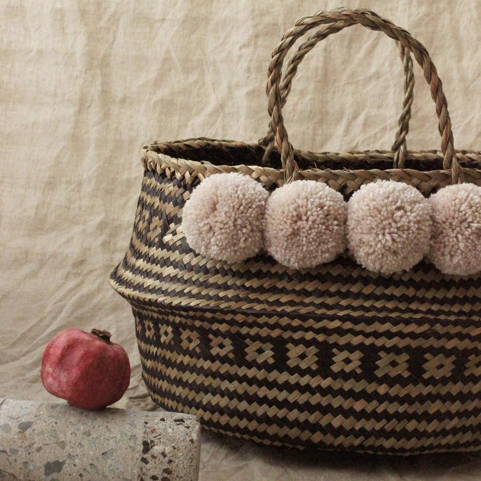 "Borneo ""Huma"" Wide Woven Straw Basket - with Dusty Beige Pom-poms"