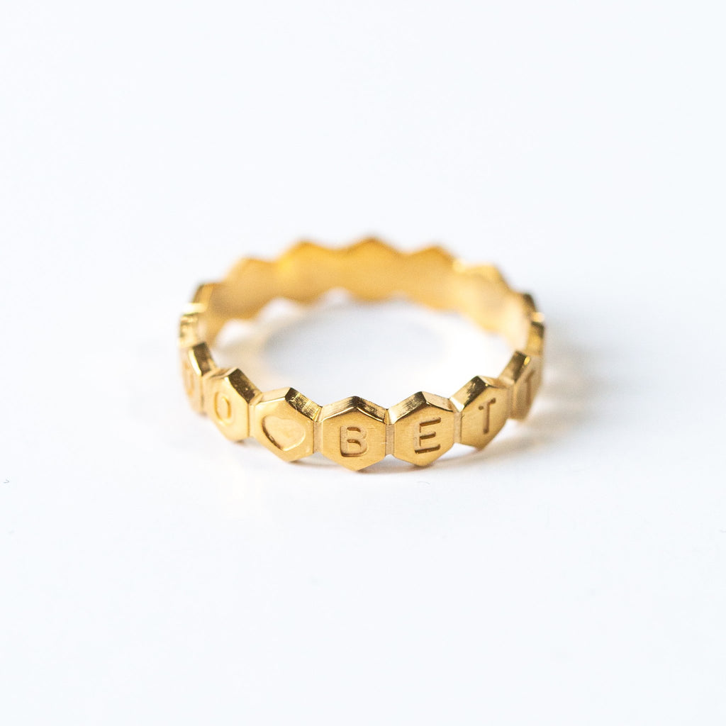 CUSTOM MESSAGE JAGGED EDGE RING