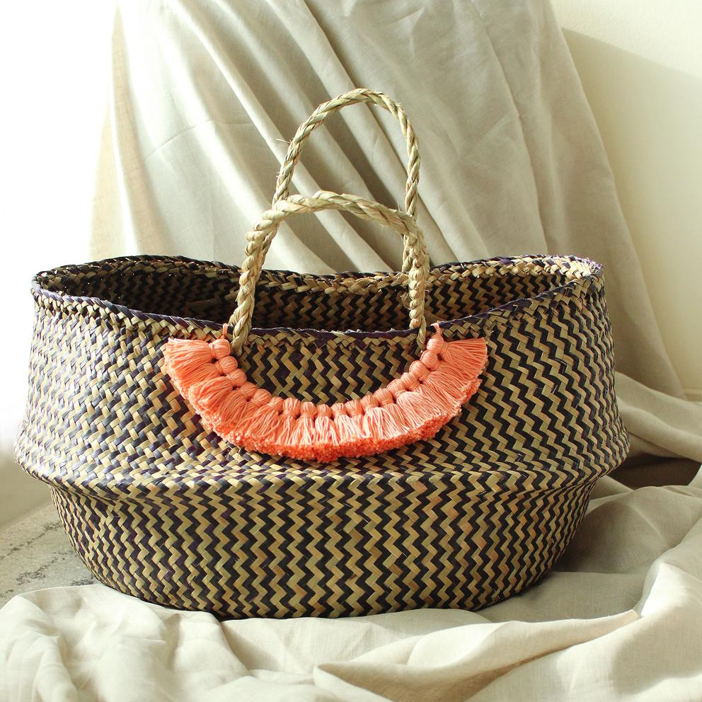 Borneo Extra Wide Zig-zag Belly basket - with Champagne Pink Tassels