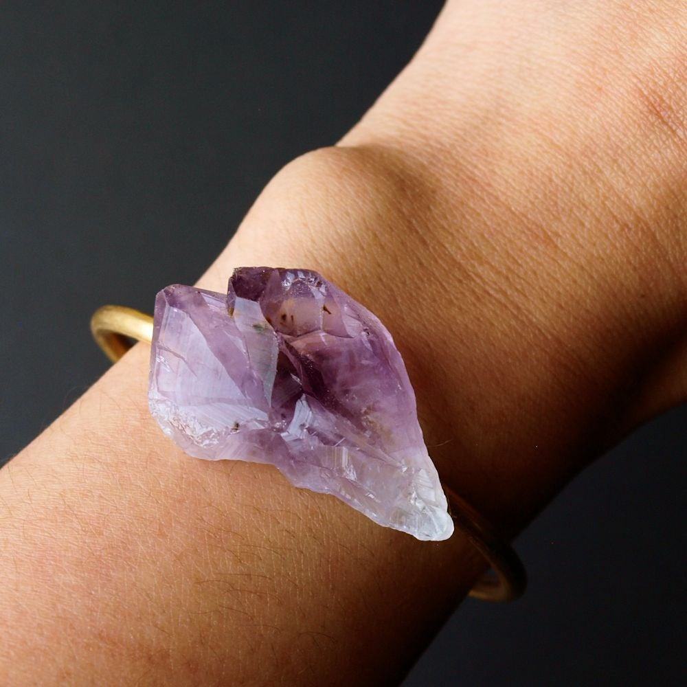 Raw Amethyst Bangle, Amethyst Bracelet