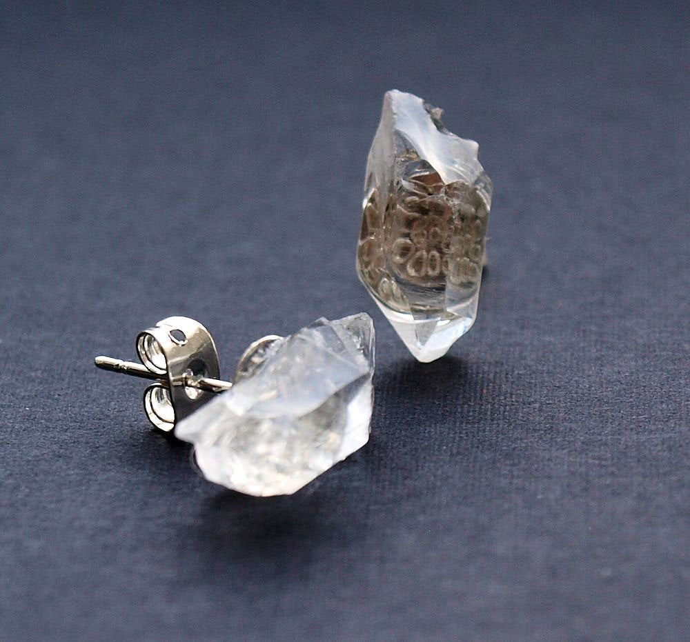 Raw Quartz Chunk Earrings, Geo Earrings, Rock Stud Earrings, Crystal Earrings