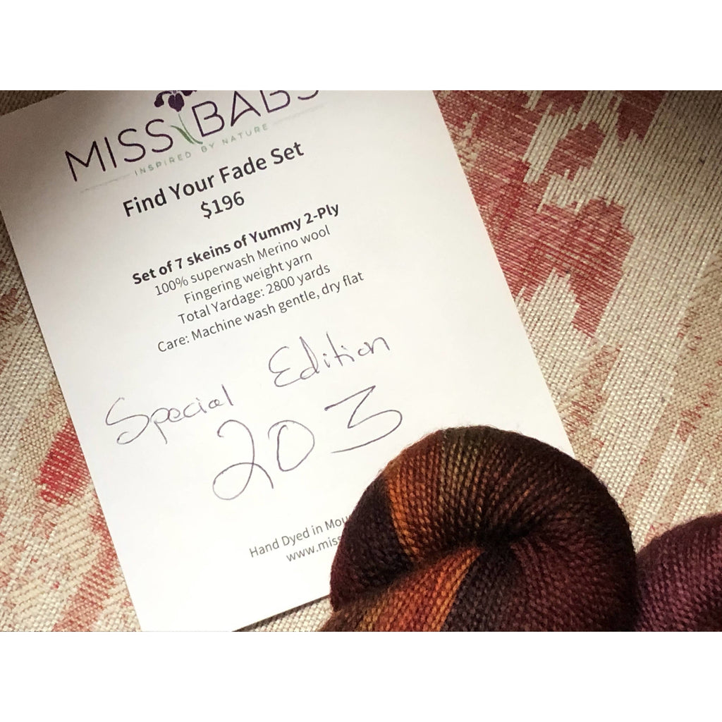 MISS BABS Special Edition 203 Find Your Fade Set - 7 Skeins of Yummy 2-Ply Yarn
